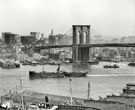 New York Circa 1908 Brooklyn Bridge And Manhattan