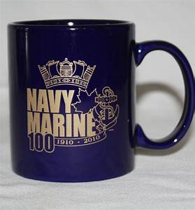 navy marine coffee mug 100 years navy gold lettering crown With coffee cup lettering