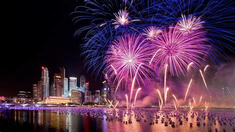 singapore  years eve holiday fireworks city  night hd