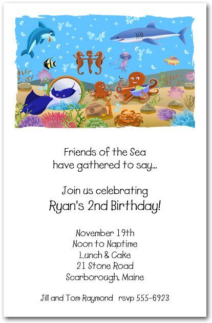 shark  fish friends invitation   sea birthday