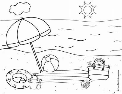 Coloring Beach Pages Printable Kindergarten Preschool Fun