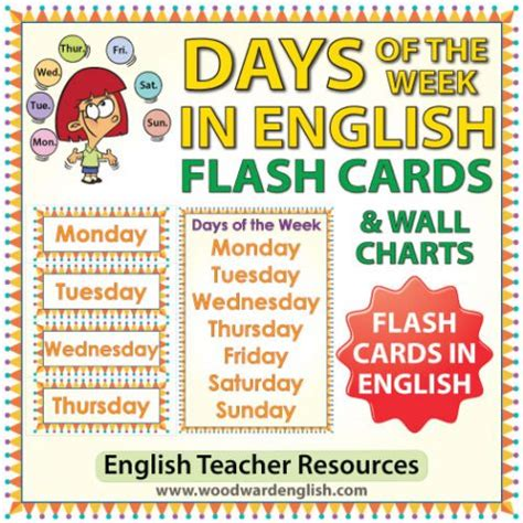 days of the week flash cards charts