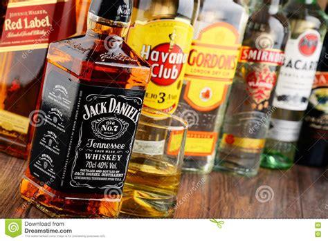 bottles  assorted hard liquor brands editorial photo