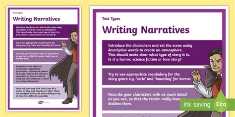 text types guide narrative story display poster