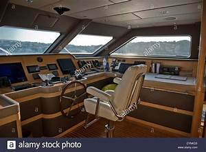Bridge Of Super Yacht With Captains Chair And Helm Stock
