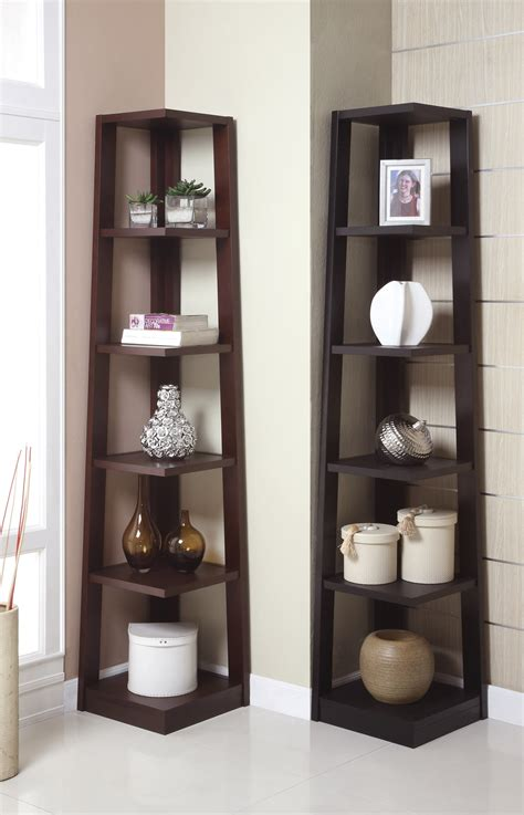 corner tower shelf available in walnut and black