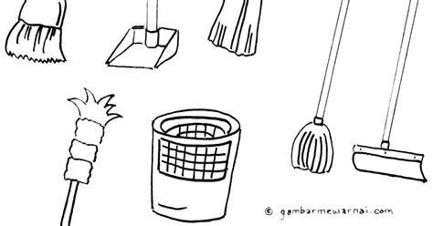 mewarnai gambar alat kebersihan rumah mewarnai