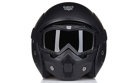 Ece Vintage Motorcycle Fiber Glass Helmet With Face Mask