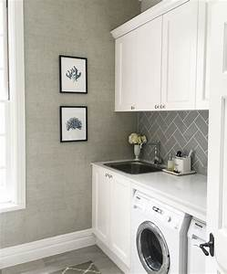 Laundry thibaut raffia wallpaper grey subway tiles for Grey tile laundry room