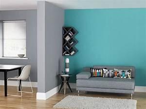 bleu turquoise et gris en 30 idees de peinture et decoration With peinture murale gris perle