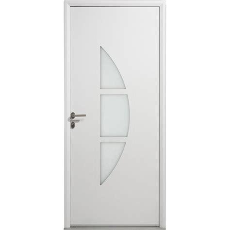 porte d entree 80 cm largeur porte d entr 233 e aluminium omaha artens poussant droit h 215 x l 80 cm leroy merlin