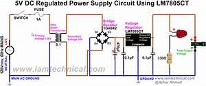 Regulated Dc Power Supply Circuit Using Bridge Rectifier 1g4b42