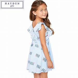 HAYDEN Girls Ruffle Sleeve Dress Kids Floral Embroidery ...