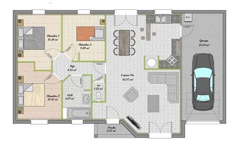 plan maison plain pied 3 chambres avec garage plan maison plain pied gratuit 3 chambres
