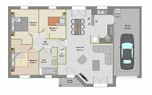 plan maison plain pied gratuit 3 chambres With plan maison gratuit plain pied 3 chambres