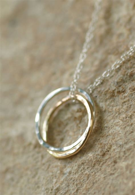 linked rings necklace gold  silver entwined rings
