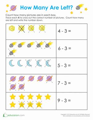 outer space math worksheet educationcom