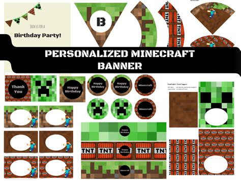 minecraft banner toppers baby shower ideas