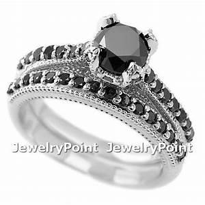 195ct black diamond matching engagement wedding ring set With black diamond engagement wedding ring sets