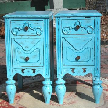 blue shabby chic furniture shabby chic nightstands in blue shabby from sweetiesattic on etsy