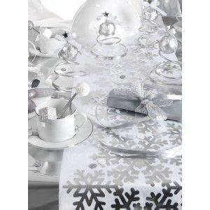 chemin de table flocon de neige argent intiss 233 blanc tables