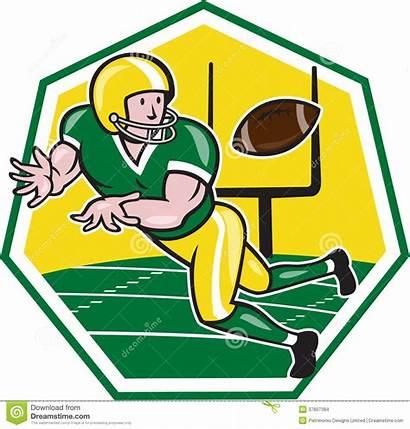 Football Cartoon Catching Clipart Ball American Receiver