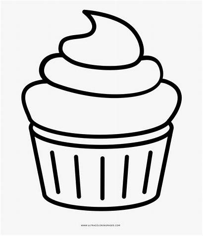 Cupcake Outline Cupcakes Clipart Halloween Coloring Transparent