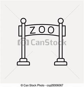 Clip Art Vector of zoo gate line icon csp29306067 - Search ...