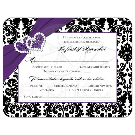 Maybe you would like to learn more about one of these? Wedding RSVP Card   Purple, Black, White Damask   Joined Hearts