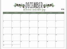 free december 2018 calendar printable Tierbrianhenryco