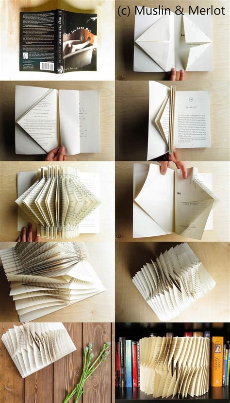 Books For Decor - folded book decor muslin and merlot