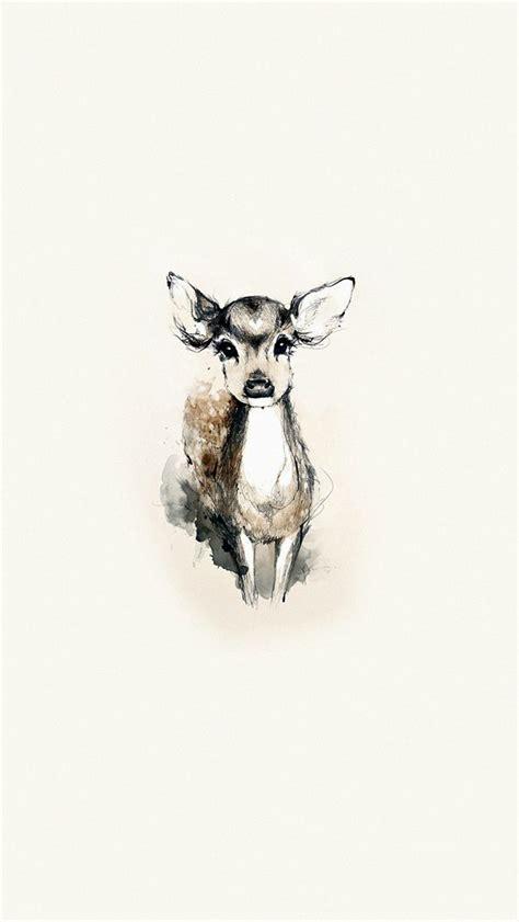 tiny cute deer illustration art iphone  wallpaper