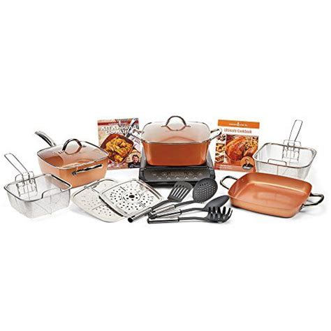 copper chef xl   pc casserole set  induction cooktop black tookcook