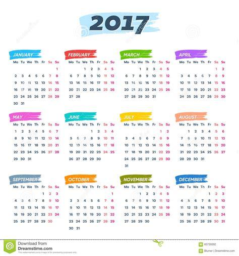 kalender 2017 wochen anfang montag vektor abbildung