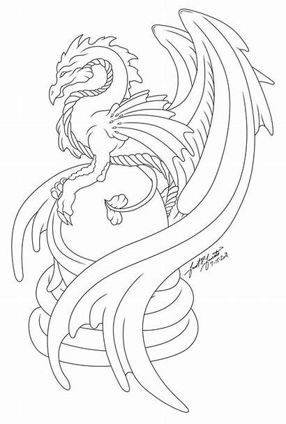Dragon Deviantart Line Egg Coloring Pages Dragons