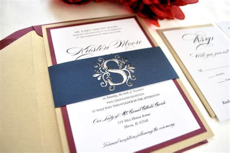 Wedding Invitations Burgundy And Gold
