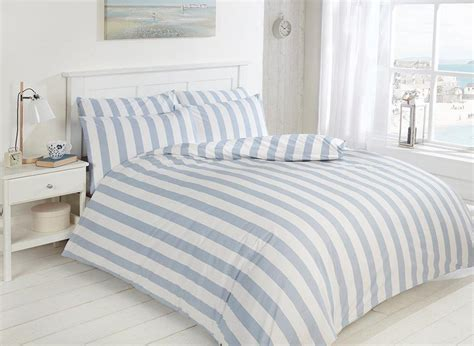 Easy Care Morley Stripe Bed Set, Blue And White, Luxury