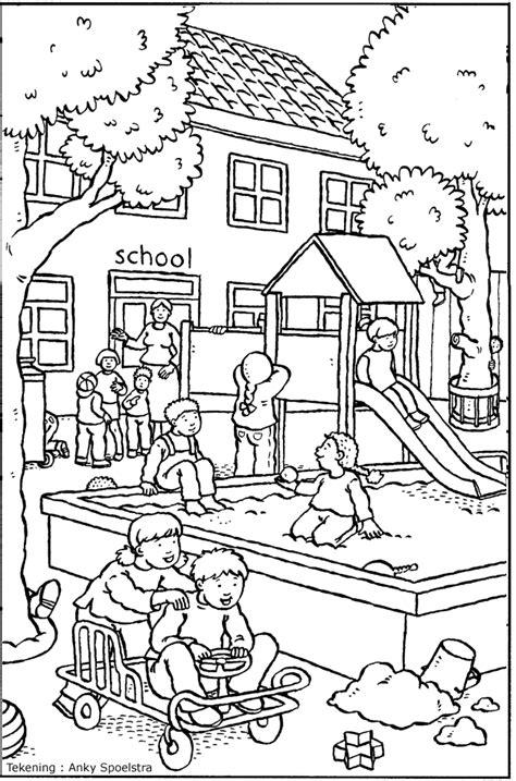 Kleurplaten School by Kleurplaat Schoolplein