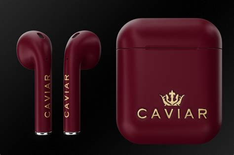 caviar launches luxury royal gift editions airpods  burgundy red black  carbon fiber