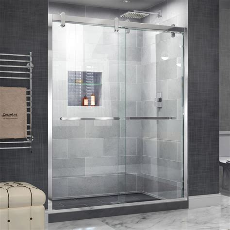 Frameless Bypass Shower Doors Dreamline Cavalier 56 In To 60 In X 77 375 In Frameless