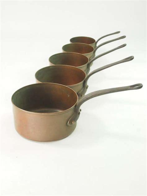 set  antique copper pans