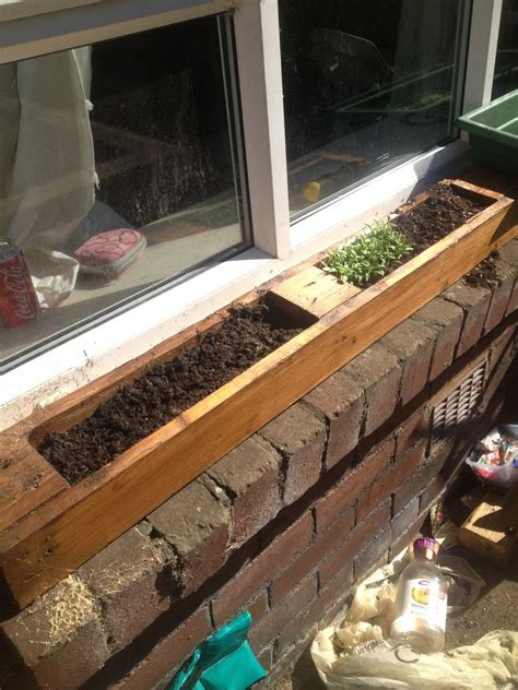 Window Sill Garden Planters by Window Planter Made From Pallet Window Sill Herb