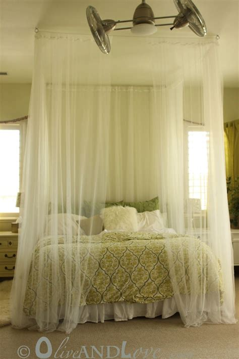 Bed Drapes - ceiling mounted bed canopy consisting of eyebolts turn