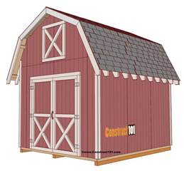 Free 10x12 Shed Plans by Shed Plans 10x12 Gambrel Shed Construct101