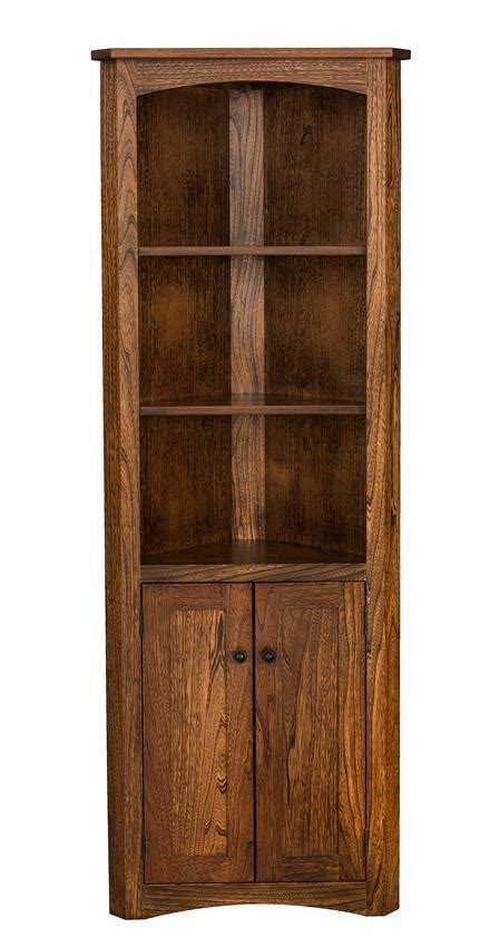 Corner Bookcases With Doors by Mission Style Corner Bookcase From Dutchcrafters Amish