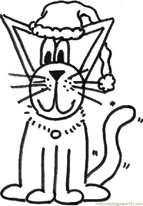 Christmas Cat Coloring Pages   Coloring Home
