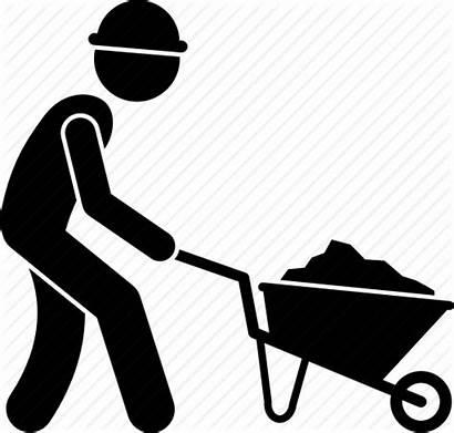 Construction Worker Icon Labour Labor Wheelbarrow Dirt
