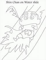 Coloring Shin Chan Slide Water Pages Drawing Getdrawings Popular Coloringhome Comments sketch template