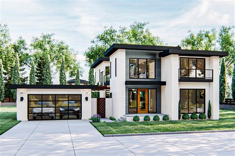 gorgeous modern style  story home plan  upstairs family room dj architectural