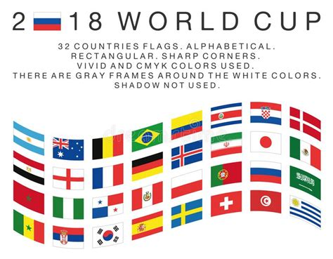 Rectangular Flags Of 2018 World Cup Countries Editorial